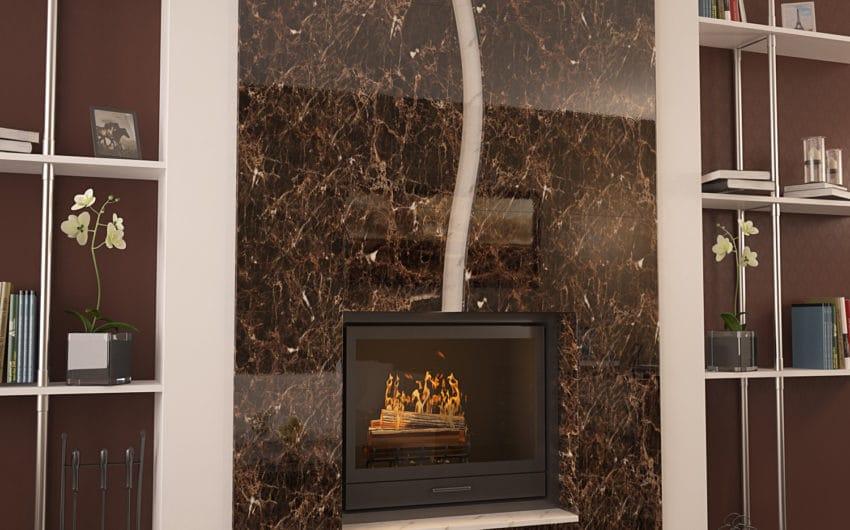 Камин из мрамора Имперадор Дарк + Волокас